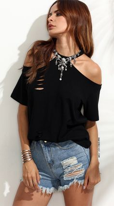 Black Cutout Cold Shoulder T-shirt