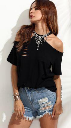Black Cutout Cold Shoulder T-shirt