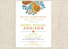 Invitation. Love the colors and style