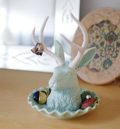 Glacier blue Jackalope jewelry holder - imm Living, $58.00 (available in Watusi Peach too)