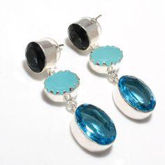Topaz Jewellery – Kyanite Stud Earrings- 925 Silver Handmade Jewelry – a unique product by 925silvercollection on DaWanda