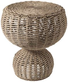 natural rope round accent table.