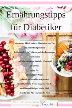 Diet for diabetes: nutritional plan u . - Proper nutrition in diabetes plays a big role! Diabetics should put together a varied nutritional p - Diet And Nutrition, Healthy Diet Tips, Proper Nutrition, Nutrition Plans, Healthy Eating, Food Blogs, Vegetarian Day, Diet Recipes, Healthy Recipes