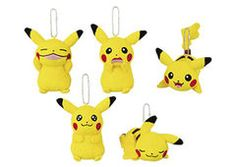 Pikachu mascot plush key chains with different gestures and poses.