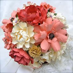 Coral and Ivory -- Handmade Paper Flower Wedding Bouquet designed by DragonflyExpression