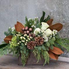 Mocha Winter Arrangement by BloomNation local florist, Roger's Garden.