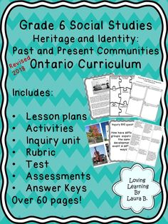 This resource is an complete unit plan for the Ontario Curriculum. Unit plans and lesson suggestions, assessments, inquiry, answer keys and rubric are included.  **For distance learning, please note that some instruction is required, which is laid out in the teacher lesson plans and may need to be modified for distance learning. Social Studies Resources, Learning Resources, Teaching Ideas, First Year Teachers, New Teachers, Elementary Education, Elementary Teacher, Ontario Curriculum, Teacher Lesson Plans