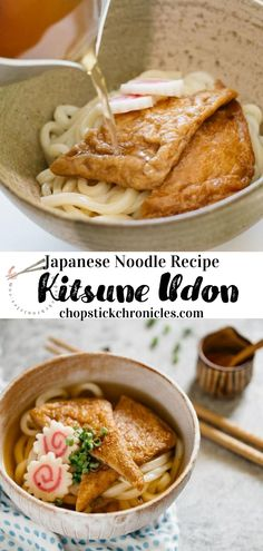 Juicy and plump, sweet soy sauce flavored deep-fried tofu on top of Kitsune Udon. This is an easy recipe with step by step photos and instructional video. A tasty meal for all seasons  #kitsuneudon #udon #udonrecipe #kitsunerecipe #kitsuneudonrecipe Easy Soup Recipes, Noodle Recipes, Cooking Recipes, Japanese Street Food, Japanese Sushi, Udon Soup Recipe, Japanese Noodle Dish, Curry Udon, Deep Fried Tofu
