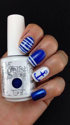Navy Anchor Nail Design With Gelish Mali-Blue Me Away #navy
