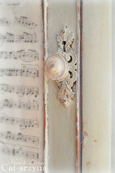 DIY Wallpaper a Cabinet With Free Printable Vintage Sheet Music!