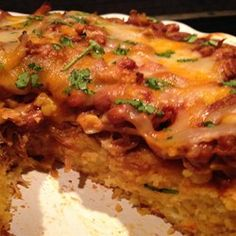 """""""Tamale Pie with masa for authentic tamale flavor. Sometimes I use leftover carnitas meat. Masa Recipes, Raw Food Recipes, Cooking Recipes, Freezer Recipes, Drink Recipes, Cooking Tips, Tostadas, Tacos, Chicken Tamale Pie"""