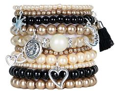 Beaded Bracelets Set of 10 Stretch Bracelets Bohemian Celestial Themed Stack with Silver Tone Charms and Tassel
