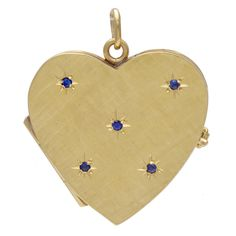 Sapphire Gold Heart Locket | From a unique collection of vintage more jewelry at https://www.1stdibs.com/jewelry/more-jewelry-watches/more-jewelry/