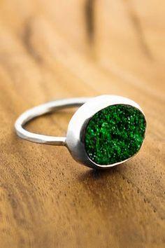 Melissa Joy Manning: Uvarovite Druzy Ring - Sterling Silver