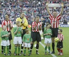 Niall Quinn's testimonial match pitted Sunderland against the Republic of Ireland.    He donated the entire proceeds to charity, an act for which he received a number of awards, including an honorary MBE.    Quinn played for both teams during the match, which raised over £1 million.