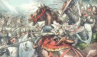 Esta imagen representa la derrota de los Cruzados ante los musulmanes durante la Séptima Cruzada.