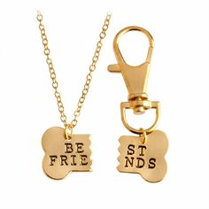 Dog Bone Best Friends Charm Necklace & Dog Tag Dog Lover Jewelry