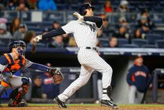 Clean hit:     Mark Teixeira #25 of the New York Yankees follows through on his third inning three run home run against the Houston Astros at Yankee Stadium on April 6 in the Bronx borough of New York City. The Yankees won 16-6.    -       © Jim McIsaac/Getty Images