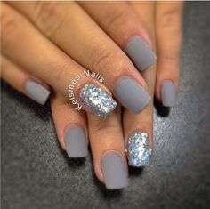 Gray Matte Manicure with Glitter.