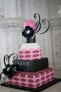 lavender burgundy and black wedding cake
