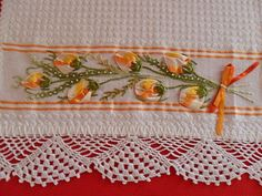 Diy Ribbon, Ribbon Work, Crochet Borders, Silk Ribbon Embroidery, Needle And Thread, Needlepoint, Needlework, Diy And Crafts, Pillow Covers
