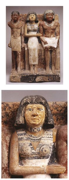 SEKED-KAW, HIS WIFE, AND THEIR SON - Fifth Dynasty, no later than reign of Niuserre - Painted limestone h. 51 cm - PROVENANCE: Saqqara - Egyptian Museum, Cairo