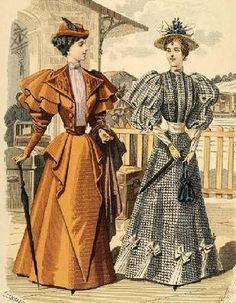 The Barrington House: 1894 fashion plate - Historical Fashion 1890s Fashion, Edwardian Fashion, Vintage Fashion, Medieval Fashion, French Fashion, Vintage Style, Historical Costume, Historical Clothing, Fashion Prints