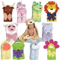 Animal hooded towels <3 want that bull and lion!!!!!!