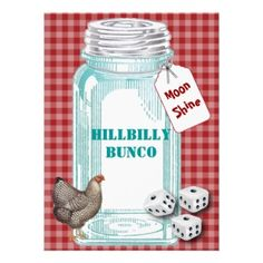 Bunco Hillybilly Style or Country Style Invite