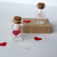 Tiny Love Heart Message In A Bottle