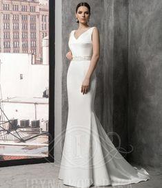 70765 Stunning designer gown by European Bridal Label 'Iryna Kotapska'. Soft Satin fit and flare gown with beaded V neck and removable beaded satin belt. So elegant! Affordable Wedding Dresses, Designer Gowns, Wedding Designs, Fit And Flare, Wedding Gowns, Evening Dresses, Label, Satin, Bridesmaid
