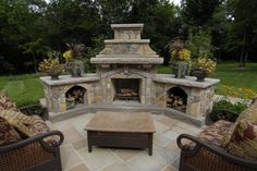 Outdoor Fireplace & BBQ Designs, Outdoor Kitchen Landscaping NJ - Perfect idea for filling concrete space in any backyard! Outdoor Fireplace Patio, Outside Fireplace, Outdoor Fireplace Designs, Fireplace Doors, Outdoor Pergola, Outdoor Rooms, Outdoor Living, Outdoor Decor, Pergola Kits