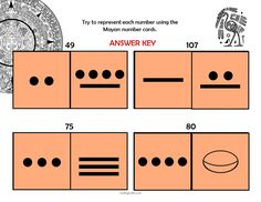 Secondary Math Lesson Plan with Downloadable Files and Printables for teaching the Mayan Number System - Students explore two-digit and three-digit numbers.