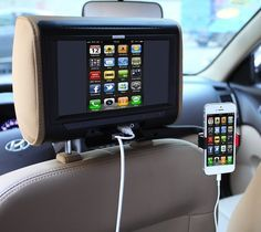 #Headrest #Smartphone Mounting Bracket – $25 / This cleverly-designed holder clamps to a pillar of your headrest so a backseat passenger can keep a phone or other mobile device in a convenient and safe position while viewing content or playing it on a monitor.  http://thegadgetflow.com/portfolio/headrest-smartphone-mounting-bracket/