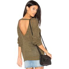 Callahan V Back Sweater ($130) ❤ liked on Polyvore featuring tops, sweaters, sweaters & knits, loose tops, cut out sweater, brown sweater, v back sweater and brown top