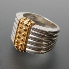 MILOR ITALY TWO TONE STERLING SILVER BEADED RIBBED RING - SIZE 5.75 #italy #milor #silver-rings #vintage-silver-rings