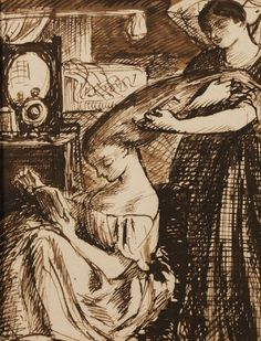Lady having her hair combed out, ca 1855, Dante Gabriel Rossetti. (1828 - 1882)  - Pen, Ink and Brown Wash -