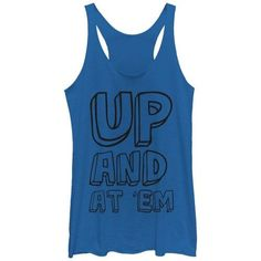 Chin UP Outline Up and At Em Womens Graphic Racerback Tank, Women's, Size: Small, Blue