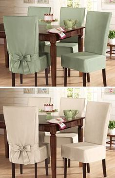 Sure- Fit Cotton Dining Chair Slip Cover Short Sage for breakfast chair cover sample will give a different view of the dining room - Home And GardenDiy Home Decor Dollar StoreComfy Oversized Chair With OttomanThis Pin was discovered by ana Dining Room Chair Slipcovers, Dining Room Chair Covers, Seat Covers For Chairs, Dining Room Chairs, Dining Table, Office Chairs, Slip Cover Dining Chairs, Furniture Covers, Diy Furniture