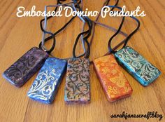 How to make a domino pendant pendants learning and easy sarah janes craft blog embossed domino pendants aloadofball Image collections