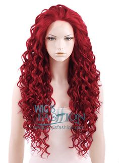 """Long Curly 26"""" Dark Red Lace Front Synthetic Fashion Wig"""