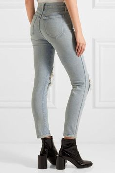 3x1 - W3 Distressed High-rise Slim-leg Jeans - Light denim - 26