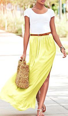 sunshine #yellow maxi skirt http://rstyle.me/n/j3765r9te