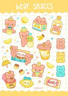 AJ Tuana Cute Food Drawings, Cute Little Drawings, Cute Kawaii Drawings, Cute Animal Drawings, Stickers Kawaii, Cute Stickers, Cute Food Art, Cute Art, Bubble Stickers