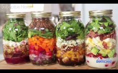 The domestic geek - salad in a jar Beet and goat cheese salad, cobb salad, autumn salad, taco salad