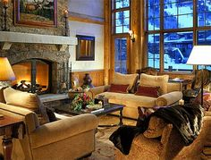 """Living room """"lodge style"""" cozy and inviting. Coffee and conversation."""