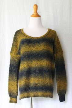 Ecote Anthropologie Black & Mustard Yellow Ombre Mohair Wool Blend Sweater S NEW #Ecote #ScoopNeck