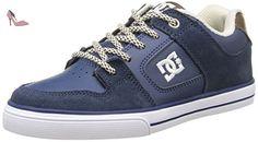 DC Shoes Pure Se, Basket mode garçon, Bleu (Navy/Dk Chocolate), 35 EU - Chaussures dc shoes (*Partner-Link)