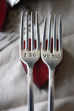 I Do, Me Too Fork Set - 1847 Rogers Bros - First Love Design - Hand Stamped - First Love Collection 2012. $33.00, via Etsy.