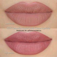 NYX Cosmetics Liquid Suede Lip Cream in 'Sandstorm' + 'Soft - Spoken'